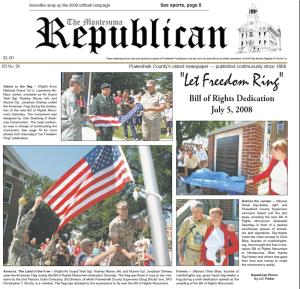 Montezuma Republican / July 7 2008 / FRONT PAGE
