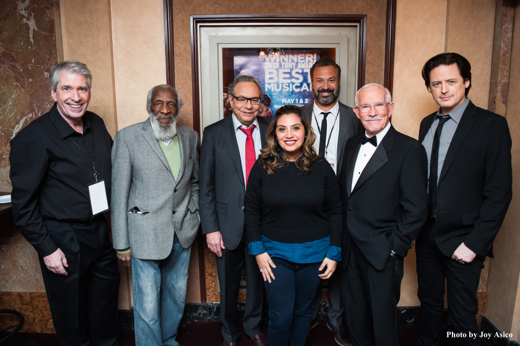 (left-to-right) Chris Bliss, Dick Gregory, Lewis Black, Cristela Alonzo, Ahmed Ahmed,Tom Smothers, John Fugelsang