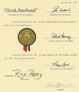 Perry Signs TX HCR 111 - Bill of Rights Monument approval